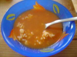 Rajská polévka z protlaku s vařenou rýží