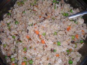 Vepřové mleté maso smíchané s rýží